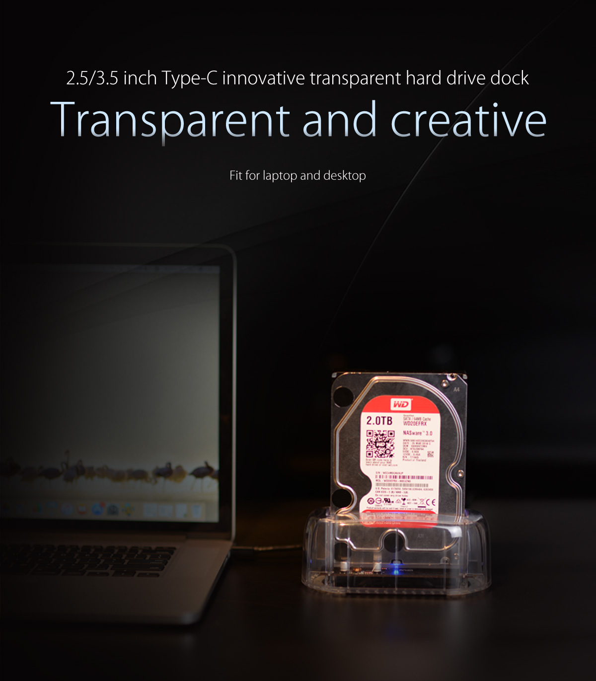 2.5/3.5 inch type-C innovative transparent hard drive dock