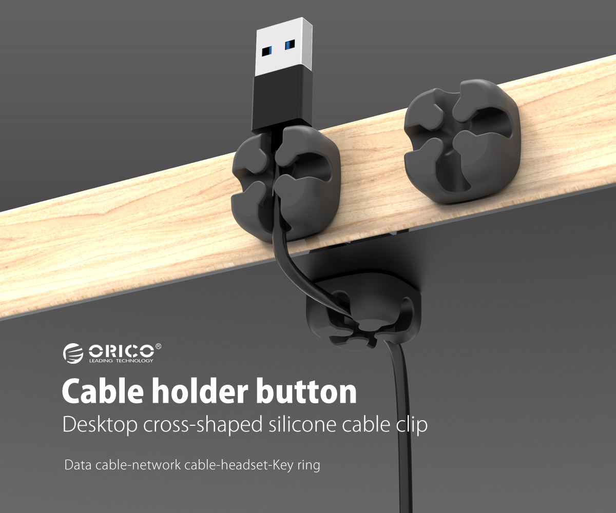 desktop cross-shaped silicone cable clip