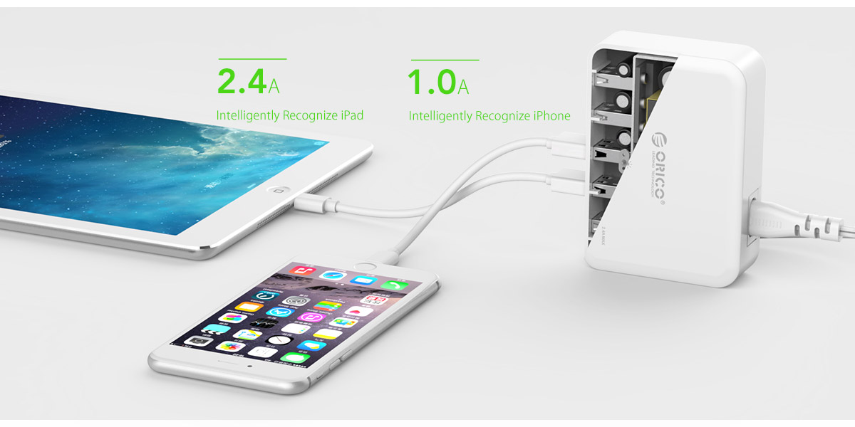 5 port charger, Intelligently recognize devices