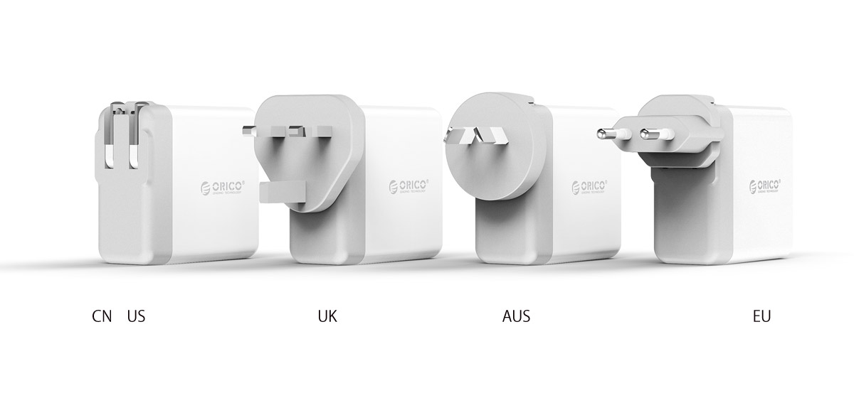 4-port smart wall charger for worldwide use
