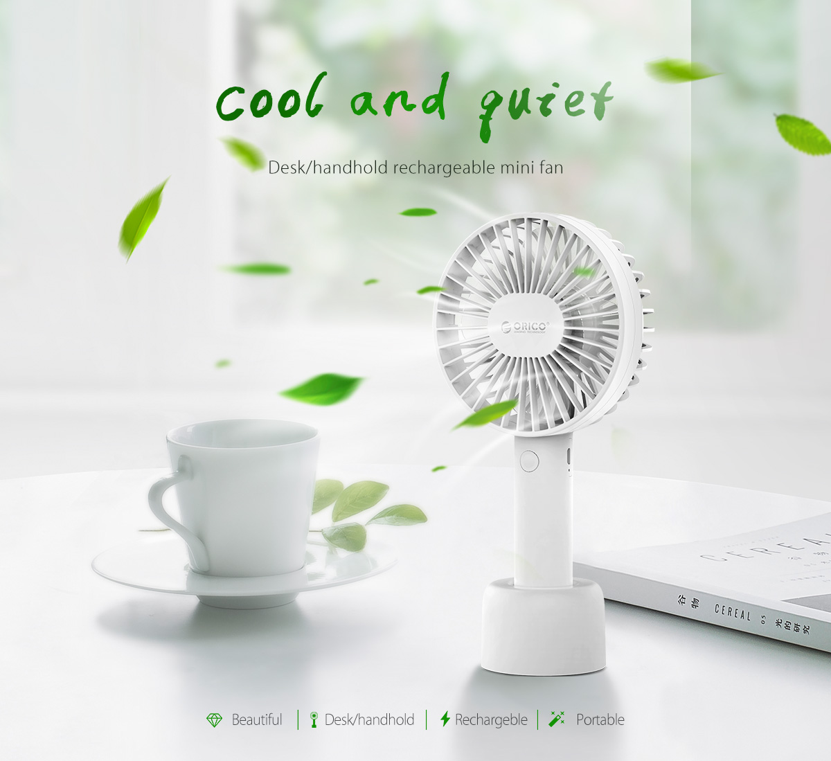 desk/handhold rechargeable mini usb fan