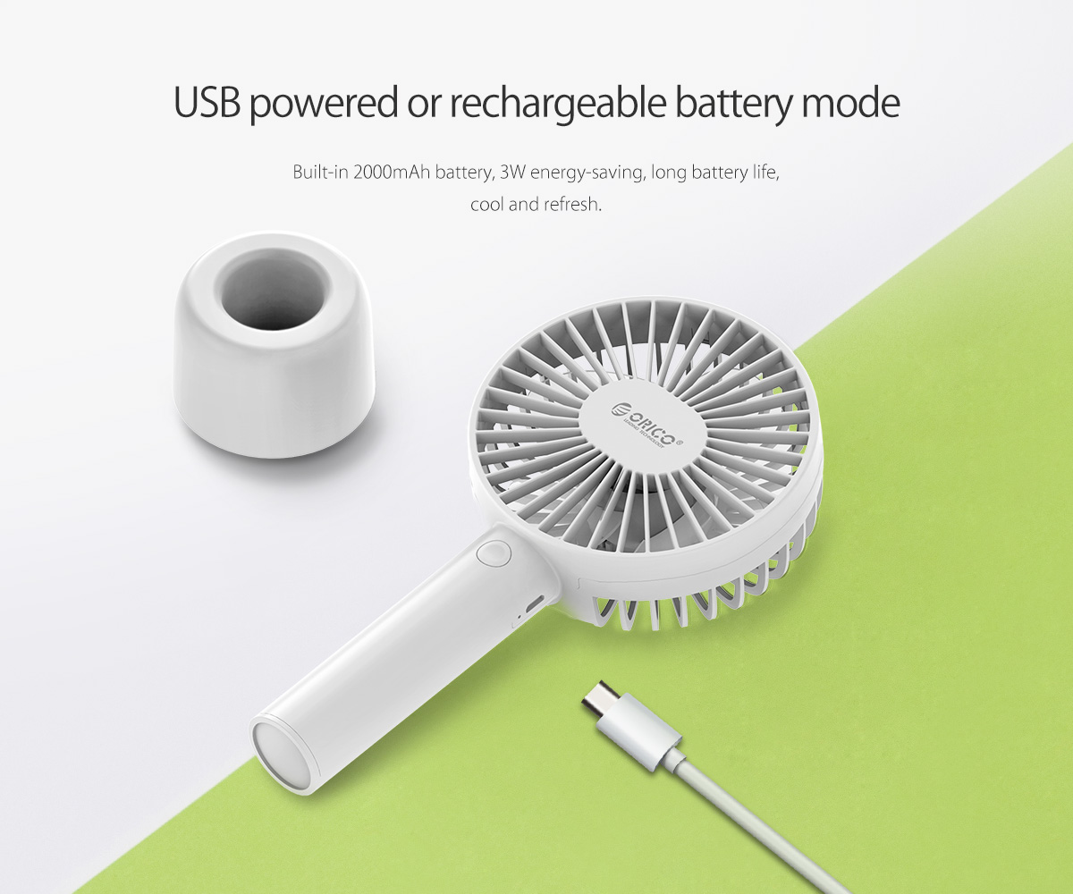 the handhold fan is equipped with 2000mAh battery, can be used in outside