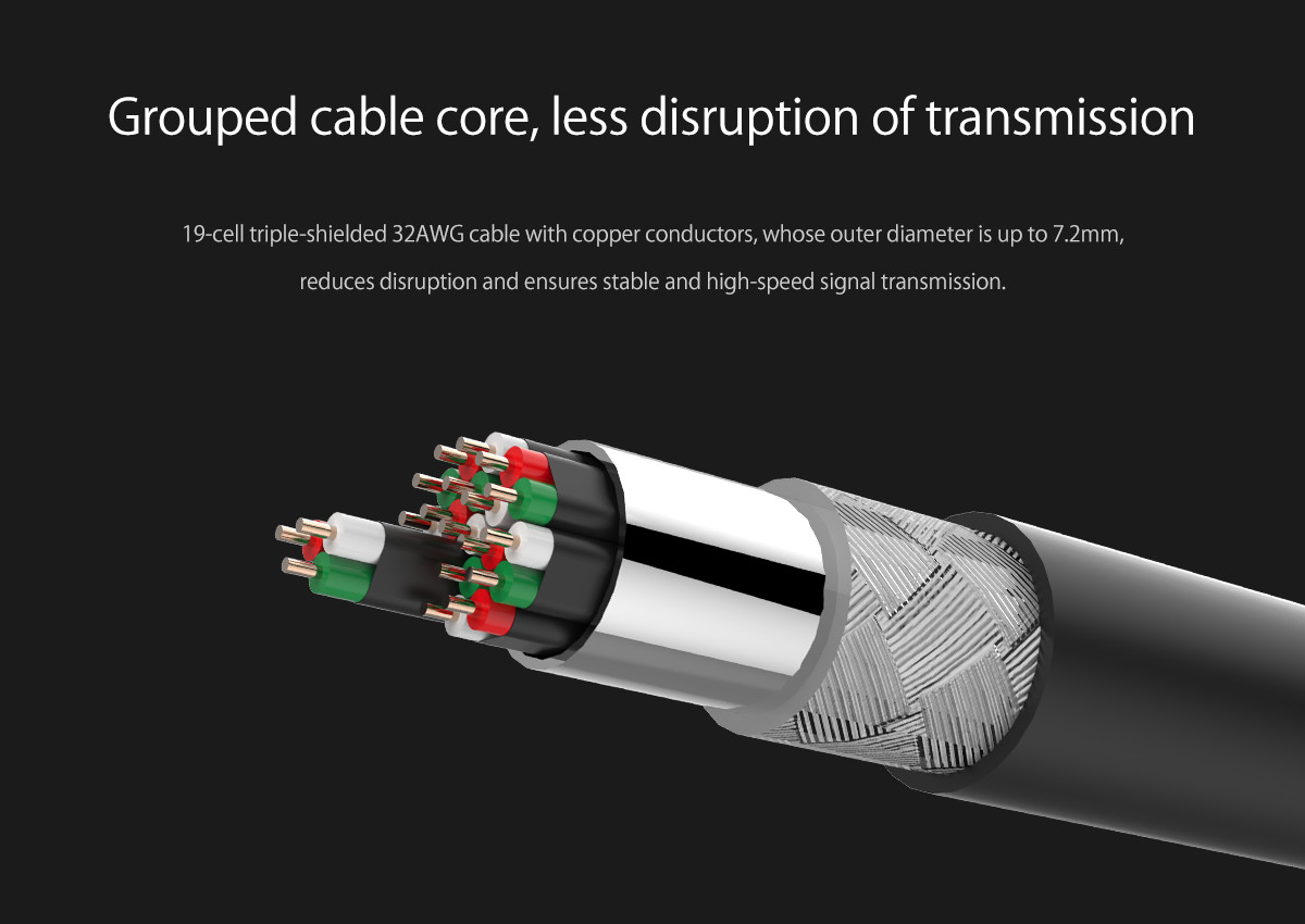 grouped cable core, less disruption of transmission