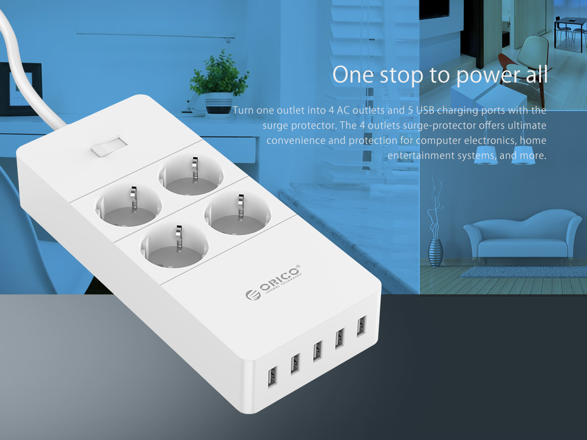 4 AC Outlets 5 USB Ports Surge Protector