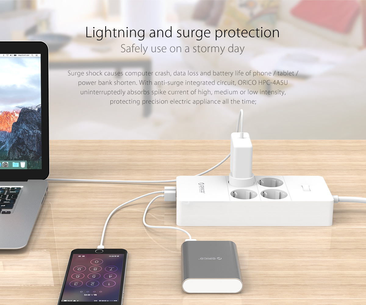 office/household multiple function USB surge protector with lightning and surge protection