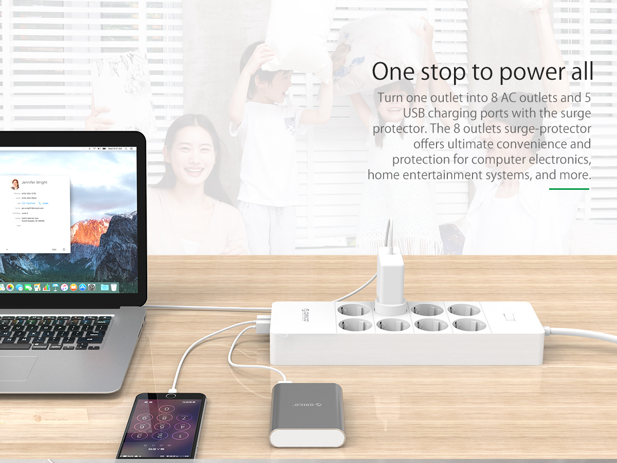 ORICO 8 AC Outlets and 5 USB Charger Smart Surge Protector