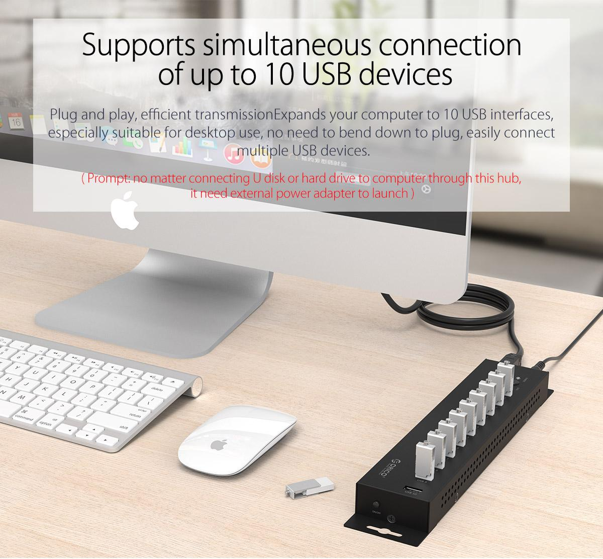 supports simultaneous connection of up to 10 USB devices