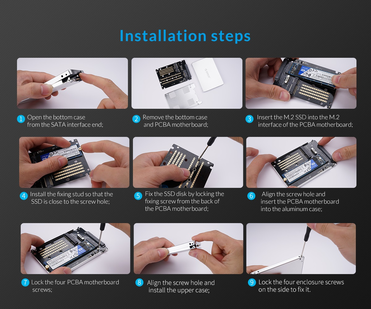 M.2 NGFF/MSATA to SATA convertor installation steps