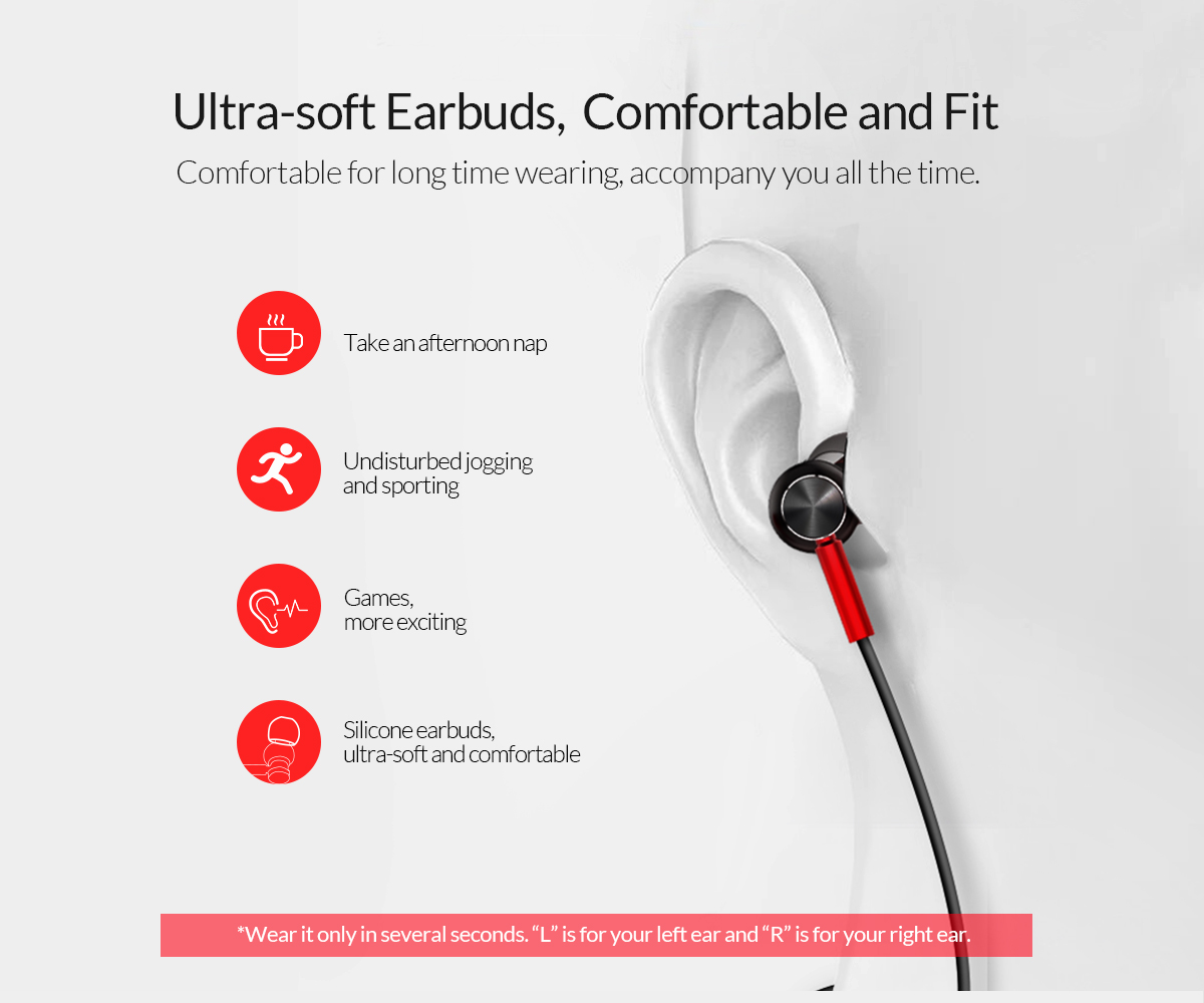 ultra-soft earbuds,comfortable and fit