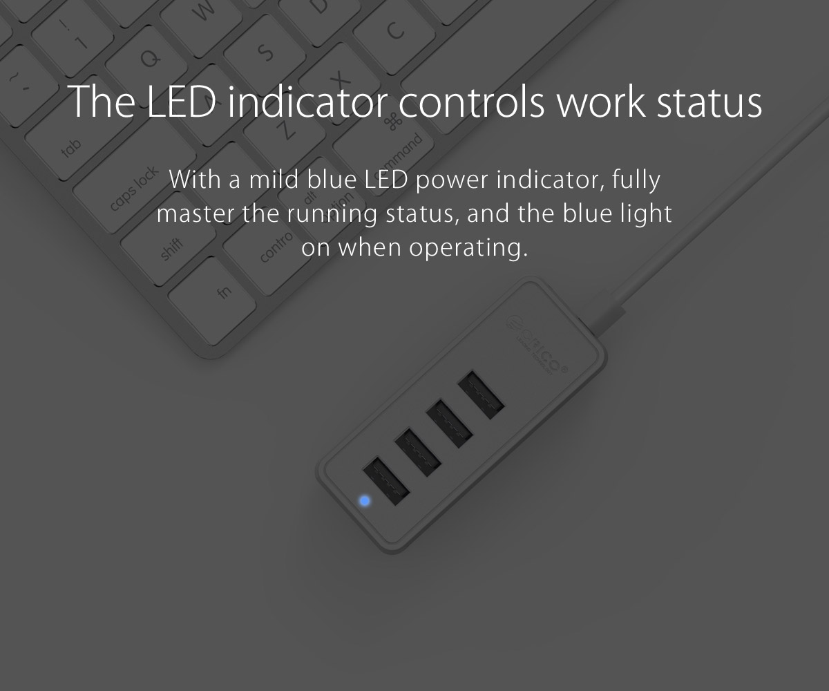 With a blue LED indicator light