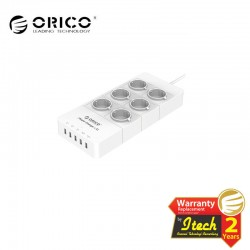 ORICO HPC-6A5U-EU Surge Protector Strip 6-Outlet with 5 USB SuperCharging Ports