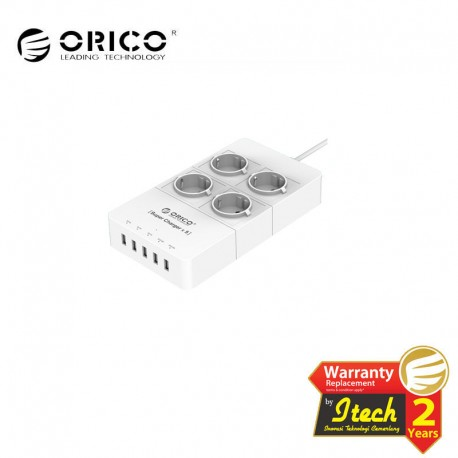 ORICO HPC-4A5U-EU Surge Protector Strip 4-Outlet with 5 USB SuperCharging Ports