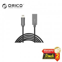 ORICO LTS-10 3A Stainless Steel Braided USB2.0 to Lightning Apple Charge & Sync Cable 1 Meter